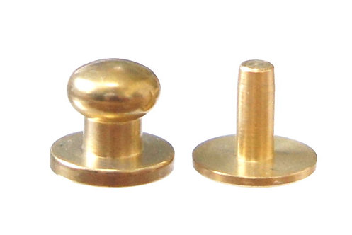 10pcs Wholesale / 7mm Button Stud [ Brass - Nickel / Rivet back ] Smoky Sumi's Store