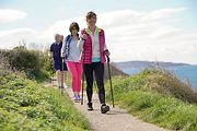 Senior people nordic walking by the atla