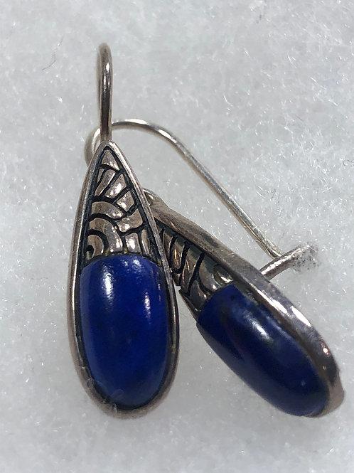 Sterling Silver .925 Gemstone Lupis Pierced Earrings
