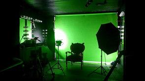 Studio de tournage avec écrans vert