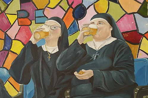 Nuns drinking beer