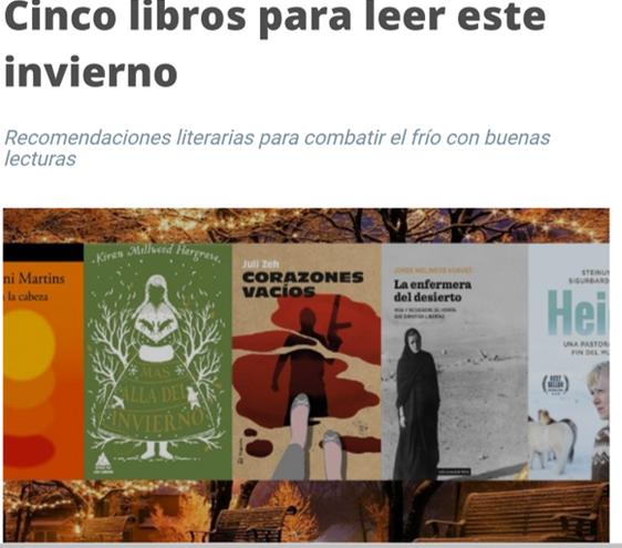 Cinco libros para leer este inverno