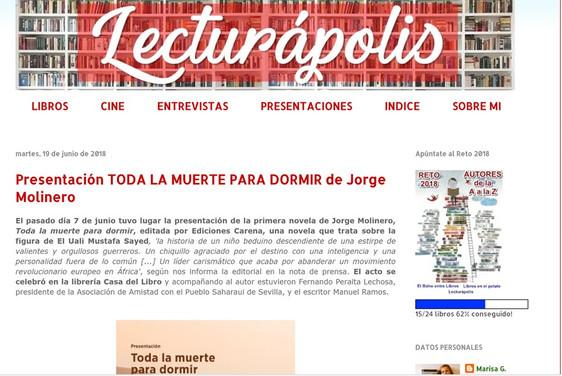 """Reseña en la web literaria """"Lecturápolis"""""""