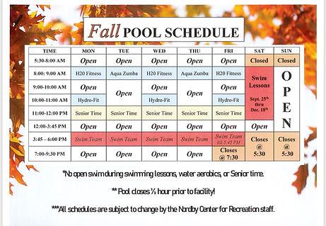 Fall Pool Schedule