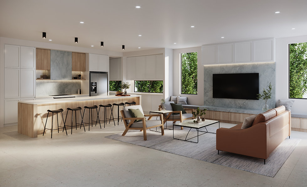 Final 3D Render - Kitchen + Living Room.