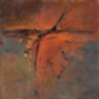 Dianes Small orange Abstract  8 X 8 Fina