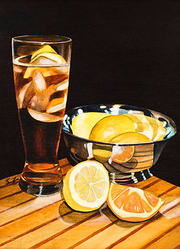 Ice tea with lemon and silver bowl 5-25