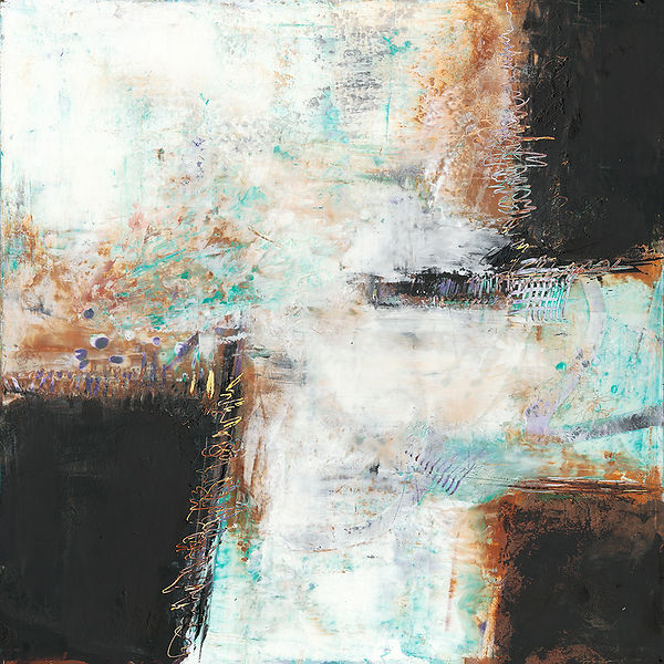 Diane Lewis abstractWhite Brown and Teal