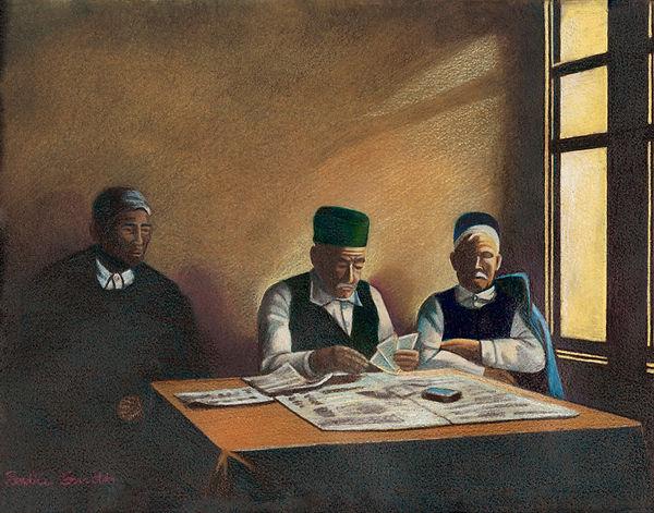 sadie old men playing cards   14 X 11 MF