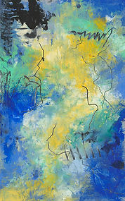 Diane Lewis Blue Yellow and Green #1 5 X