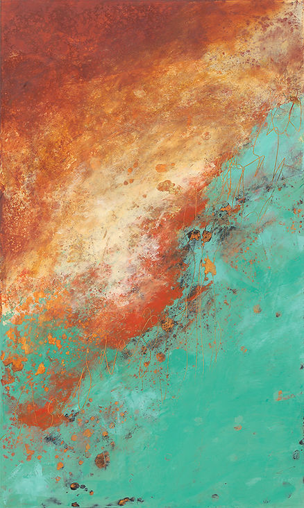 Diane lewis Oil and Wax  Orange and Teal