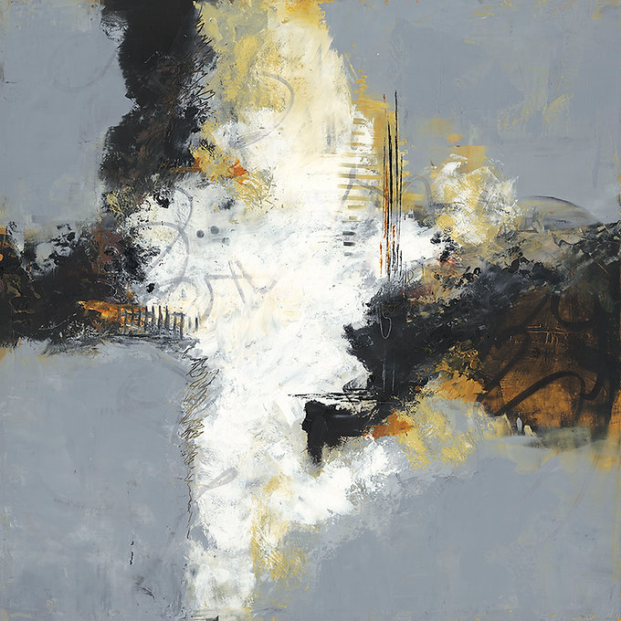 Diane lewis Gray oil and wax 24 X 24 MF