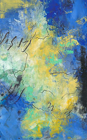 Diane Lewis Blue Yellow and Green #2 5 X