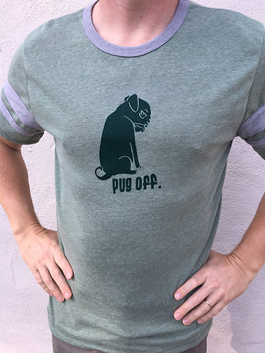 Grey and Green Pug Off striped T