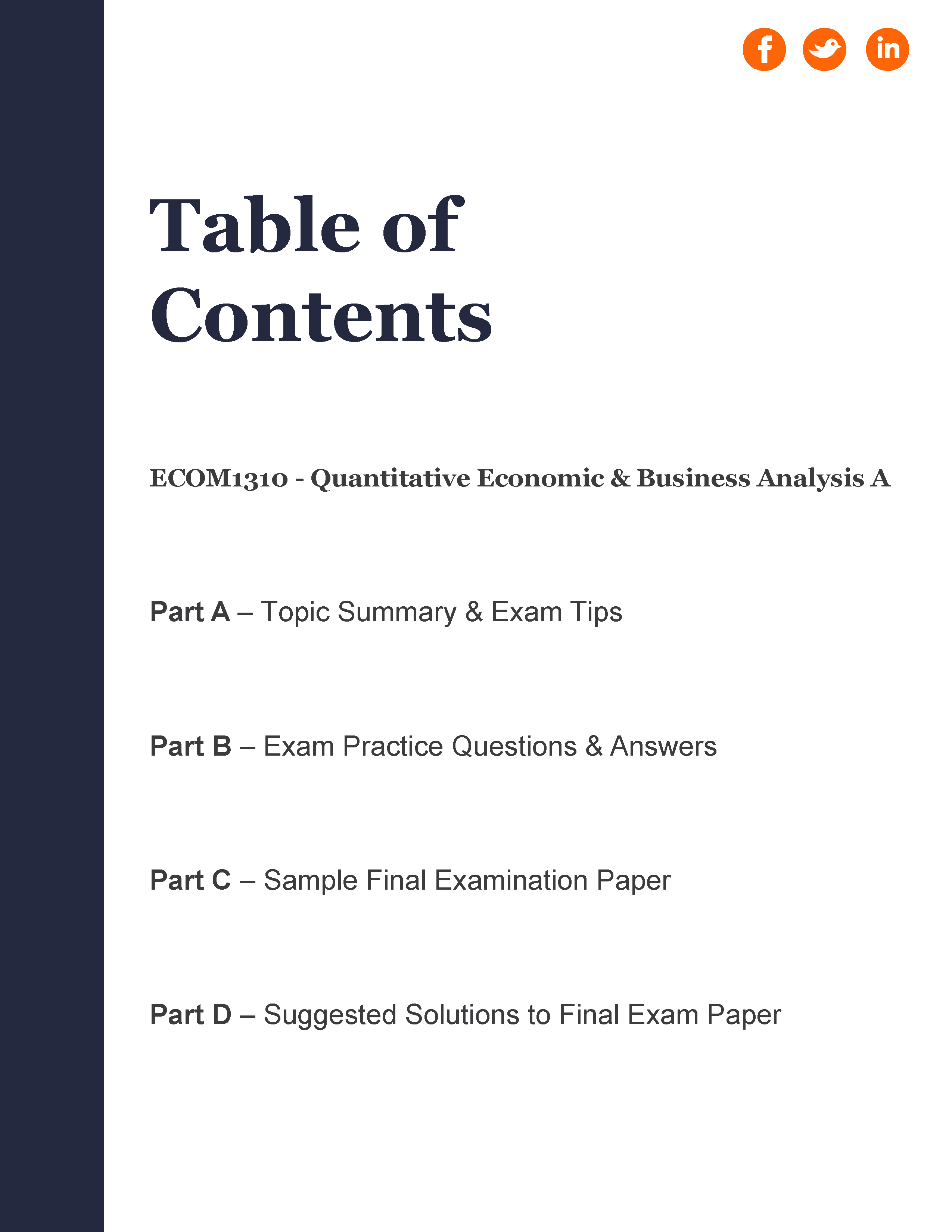 UQ - ECON1310: Quantitative Economic & Business Analysis A