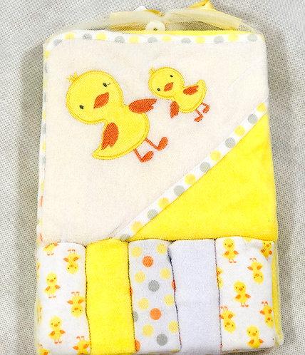 Yellow Hooded towel & 5 Wash Cloth Set