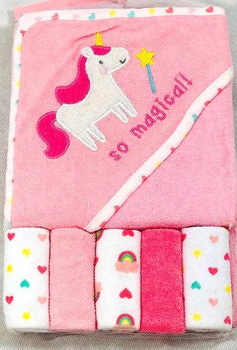 Pink Hooded towel & 5 Wash Cloth Set