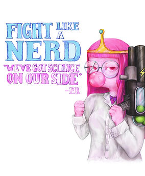 "Princess Bubblegum quote ""we have science on our side"" - These cute (officially licenced) Adventure Time designs are available on stickers phone cases, clothing and more at my shop on redbubble www.redbubble.com/people/LaviniaKnight/portfolio they make the pefect gift for teenagers, nonbinary, tomboys and geeks and are iconic in queer cuture.  The look great printed on comfortable (and affordable) tops to wear with jeans - so make sure to put them on your (strategically placed) wish list for Christmas this year. Plus 5% of my profit as an artist goes towards saving the rainforests."