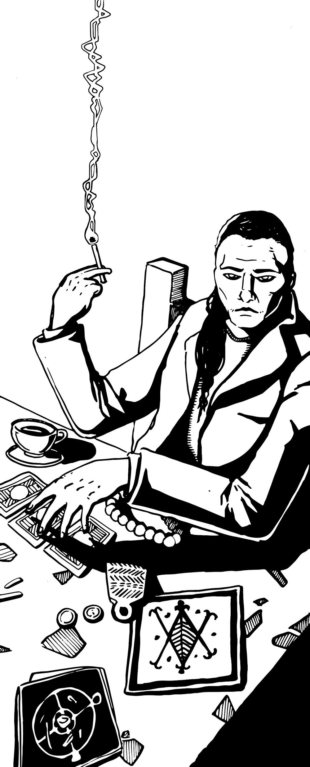 A black and white illustration of an occultist smoking in front of books.