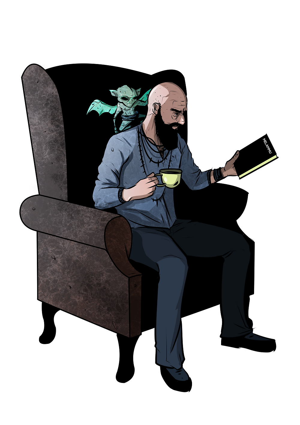 Picture of a bald magician reading a book and sipping tea