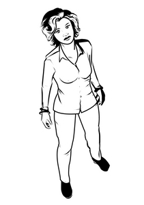 Black and white illustration of a woman in business casual attire.