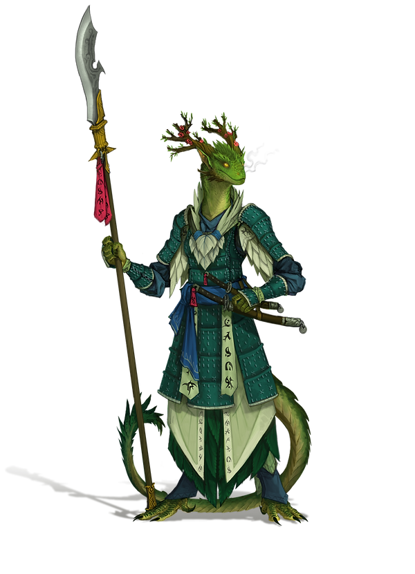 an image of a green scaled female dragonsworn monk holding a bardishe