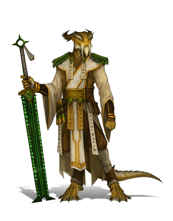 a dragonsworn monk stands holding his green, glowing blade. His gold scales demand retribution.