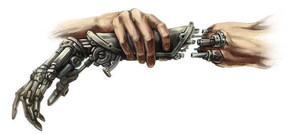 This image displays a human hand inserting a mechanical hand into its socket.