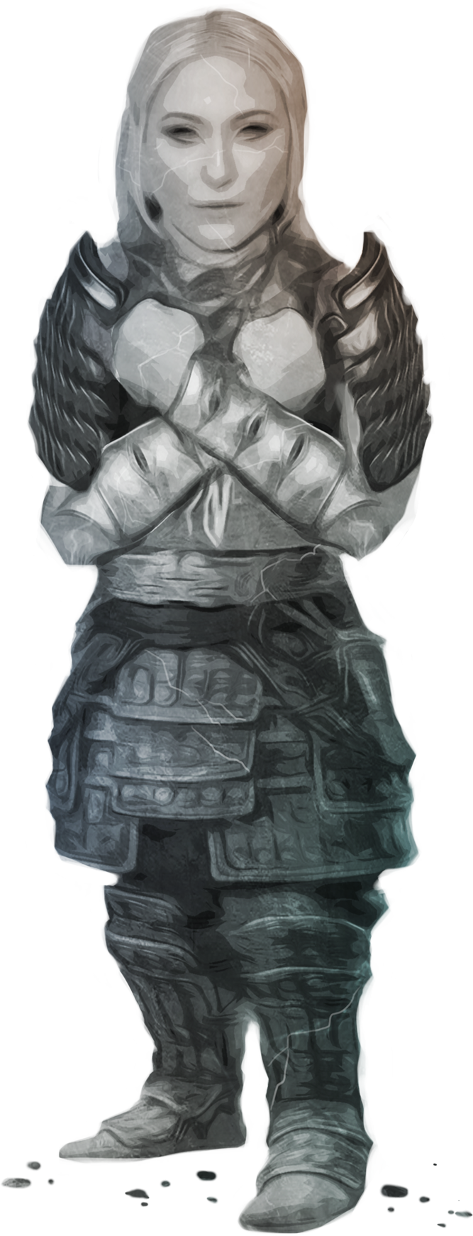 Image of a female dwarf in her stone form.