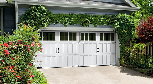 white Carriage style Amarr residential garage doors