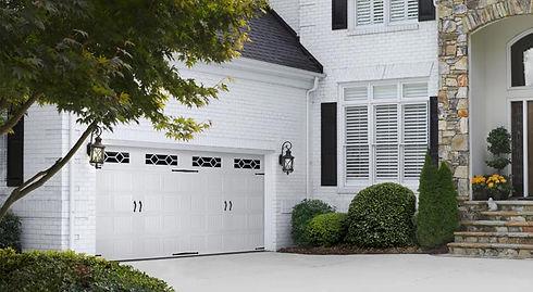 white steel Amarr residential garage doors