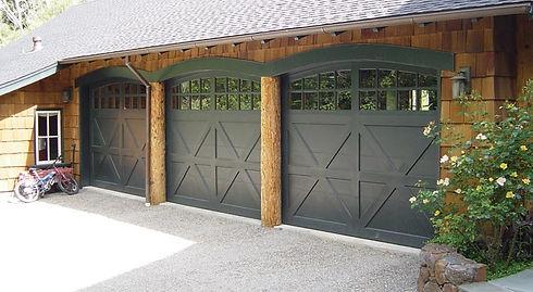 black wood Amarr residential garage doors