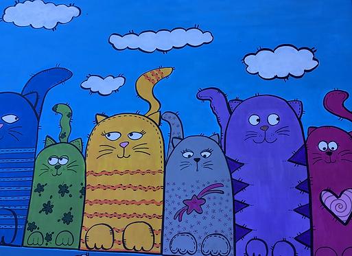 Bild mit Katzen, Zeichnung von Susana