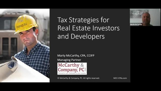 Tax Strategies for Real Estate Investors & Developers