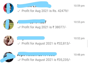 Profit ₹9,29,005/- for August 2021 by KAM