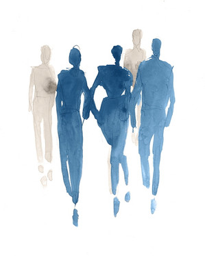 Blue Promenading I