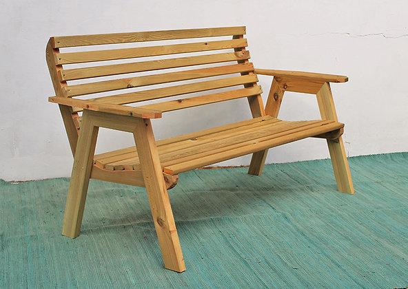 ספסל עץ אורן זוגי