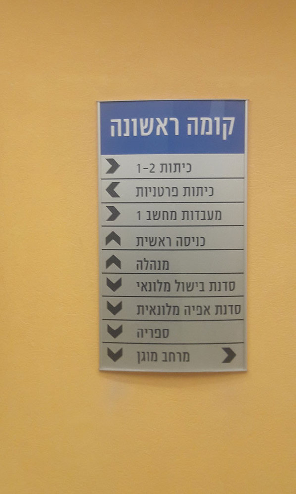 שלט הכוונה אלומיניום עבור בית ספר