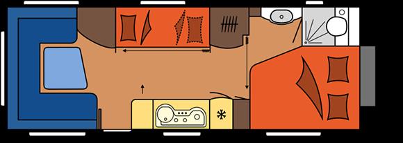 קרוואן נגרר הובי פרימיום דגם UKFe 650 מצב יום