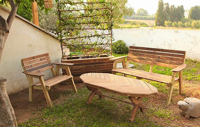פינת ישיבה גדולה מעץ - סרגלי איפאה
