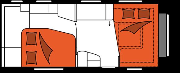 קרוואן נגרר הובי אקסלנט דגם WFU 560 מצב לילה