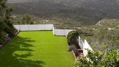 גדר אלומיניום לבנה לחצר
