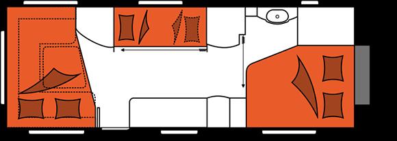 קרוואן נגרר הובי פרימיום דגם UKFe 650 מצב לילה