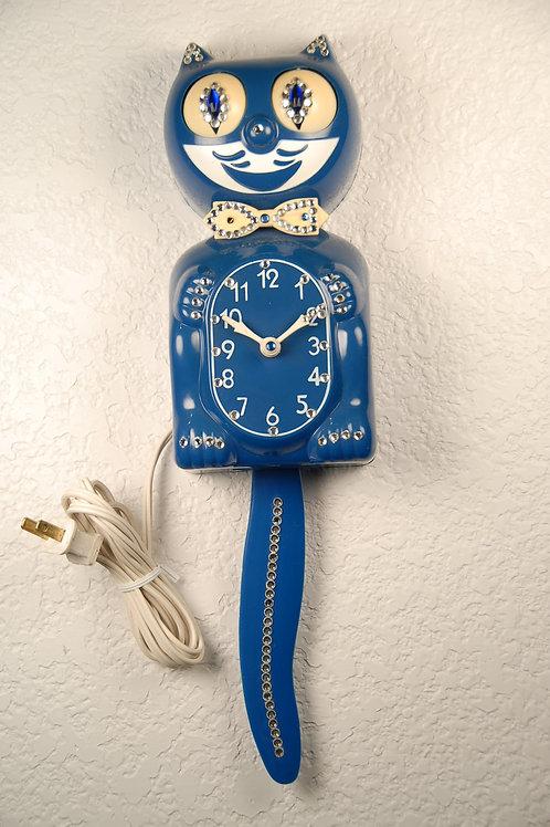Royal Blue Jeweled  Kit Cat Clock