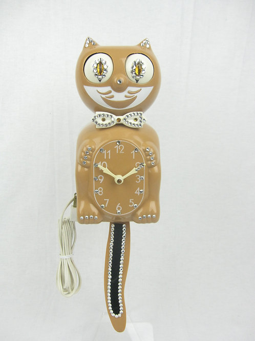 Tan Jeweled Kit Cat Clock