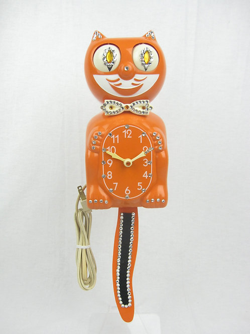 Orange Jeweled Kit Cat Clock