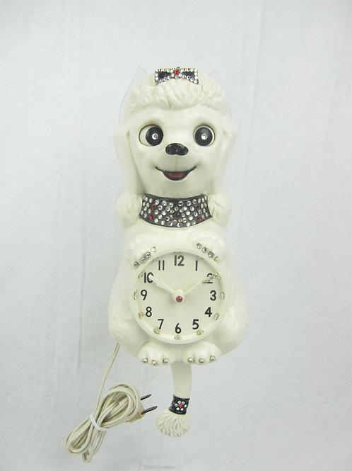 White Jeweled Poodle Clock