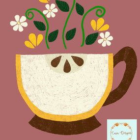 Yellow apple tea cup