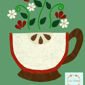 Red apple tea cup