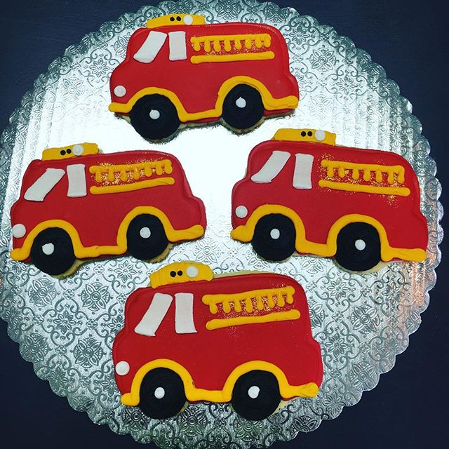 Fire Truck Cut-Outs #birthdayfavors #firetruckred #firetruckcookies
